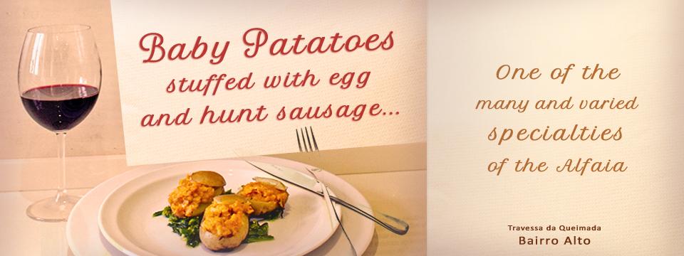 Batatinhas recheadas com ovo e alheira....